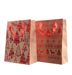A mix of 2 brown paper craft bags each with a shiny red Christmas design including reindeer and Christmas trees.