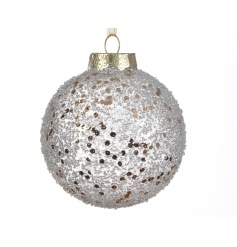 A silver glitter shatterproof snowball style bauble. A chic addition to any Christmas tree.