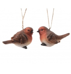 A mix of 2 traditional hanging robin decorations. A timeless Christmas item.