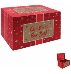 Get ready for Christmas with this large Christmas Eve box with beautiful gold snowflakes and script.