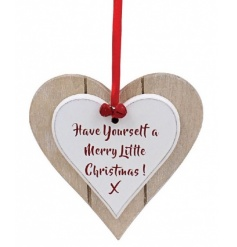 Have Yourself A Merry Little Christmas. A chic double heart plaque with red ribbon and bells.