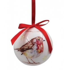 A set of 6 fine quality baubles with red ribbon to hang. Each has a watercolour robin motif and a picture gift box.