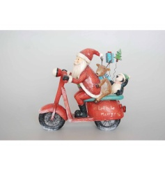 This decorative figure will add a twist to your home this festive season, instead of his well known sleigh, he's going t