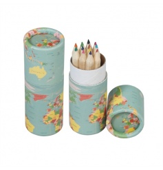 A lovely addition to any desk and for use on the go. World map tube of 12 assorted coloured pencils.