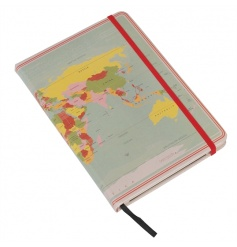 A fine quality journal with document pocket, bookmark ribbon and security band in the vintage world map design.