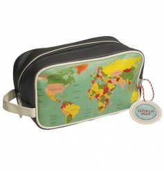 This Vintage World Map design wash bag has a white lining and internal pocket with a metal zip closure.