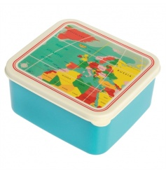 A stylish and practical plastic lunch box with a handy push on lid from the popular world map range.