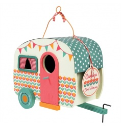 A fabulous vintage caravan shaped birdhouse in pastel colours with hanging wire.