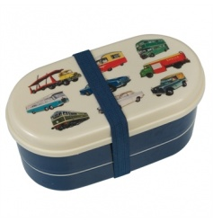 This two tier Vintage Transport design bento box has two compartments and cutlery