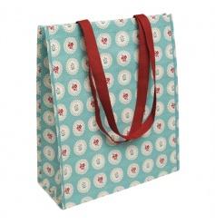 Blue vintage doily design super shopper bag, made from recycled plastic bottles.