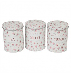 A set of 3 metal tea, coffee and sugar storage tins in the pretty and popular La Petite Rose design.