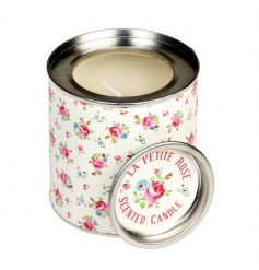 A pretty rose scented candle set within a tin in the popular La Petite Rose design.