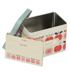 A metal recipe tin in the popular Vintage Apple design with matching recipe cards and dividers