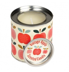 A apple scented candle set within a tin decorated in the popular Vintage Apple design. A lovely gift and home item!