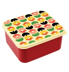 A stylish and practical plastic lunch box with a handy push on lid from the popular and new Tulip Bloom range.