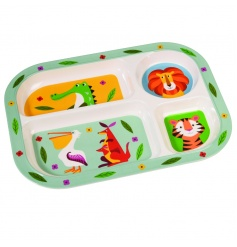 This Colourful Creatures melamine tray with 4 different compartments is perfect for feeding little ones.