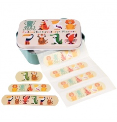 A set of 30 plasters with tin in the popular Colourful Creatures design.