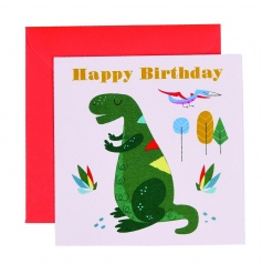 A colourful and contemporary dinosaur design Happy Birthday Greetings Card with envelope. Blank for own message.