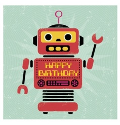 A retro style robot Happy Birthday greetings card with envelope. Blank inside for your own message.