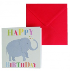 Say Happy Birthday with this colourful Elephant design birthday card. Blank inside for your own message.