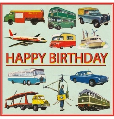 A vintage style Happy Birthday greetings card from the popular Vintage Transport range.