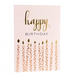Gold foil debossed 'happy birthday' candles card with an envelope. Blank inside for your own message.