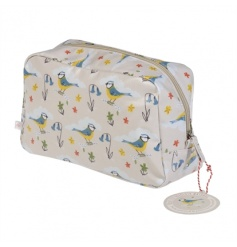 This gorgeous Blue Tit design wash bag is perfect for storing toiletries. Made from oilcloth and with an inner pouch