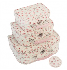 A set of 3 pretty and practical storage cases with handles. A stylish storage item in the popular La Petite Rose design.