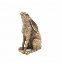 A fine quality textured Bronzed Hare sitting ornament. A chic country living accessory and gift item.