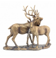 A stunning country living bronze deer and stag ornament with base.