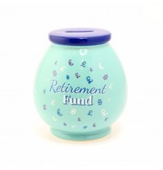 A colourful retirement fund money pot. A great gift item!