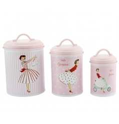 A set of 3 pretty vintage storage canisters in 3 assorted designs. A must have gift for the vintage lover.
