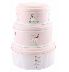 A set of 3 vintage metal cake tins with a stylish vintage design. A great 50's item for the vintage lover.