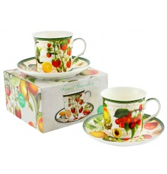 Fruit Garden Cup & Saucer 2a  This vintage home feeling set of china cups and saucers will bring a sweet sense of colour