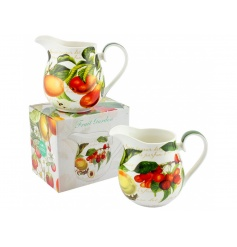 This vintage home feeling set of china jugs will bring a sweet sense of colour to any display.