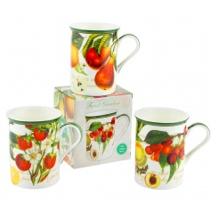 This vintage home feeling set of china mugs will bring a sweet sense of colour to any display.