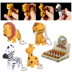 A mix of 4 cute zoo animal key rings with LED light and sound. A great pocket money priced gift item.