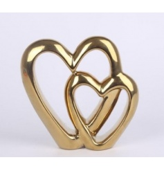 This beautifully simple ceramic based double heart ornament will situate perfectly in any living room