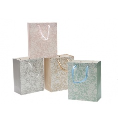 A mix of 4 pretty pastel gift bags in a lace design. Complete with a glitter finish and ribbon handles.