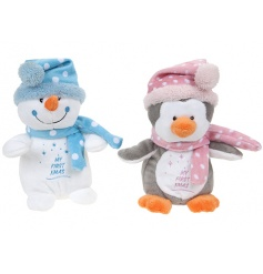 A mix of two Snowman and Penguin plush soft toys in blue and pink designs. A lovely gift for baby's first Christmas
