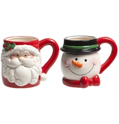 A mix of 2 Christmas character mugs in Santa and Snowman design. Perfect for enjoying a cosy hot chocolate.