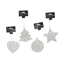 A mix of 4 superb value white glitter 3D hanging decorations.
