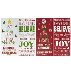 An assortment of 4 red and green Christmas signs with popular slogans.