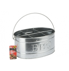 Get ready for the BBQ season with this zinc condiments and tools caddy with carry handle. A great gift item!