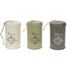 A mix of 3 vintage inspired metal tins with garden twine included.