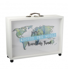 This quirky suitcase styled money box is the perfect way to save up for those around the world trips