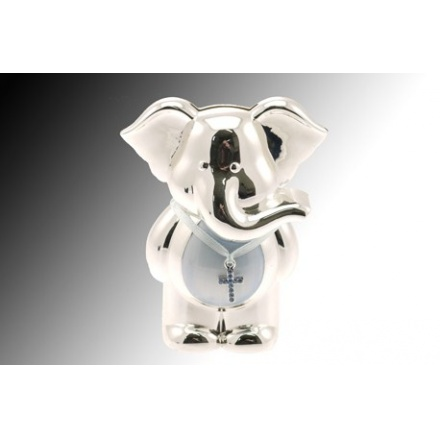 Silver Plate Elephant Money Bank Blue