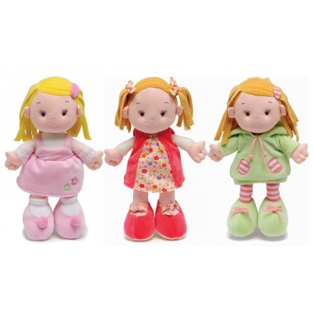 3 Assorted baby ragdolls from the Aurora Baby range. Suitable from birth