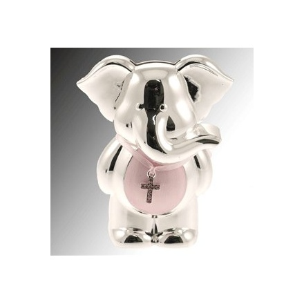 Silver Plate Elephant Money Bank Pink
