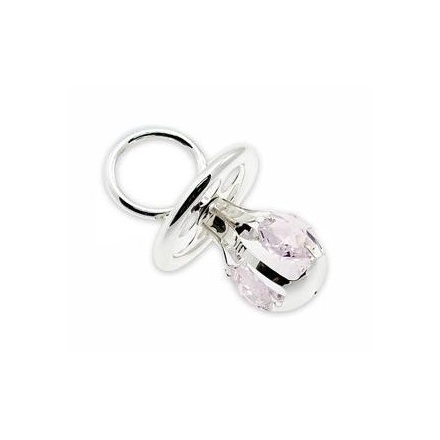 Silver Plate Crystal Dummy Pink